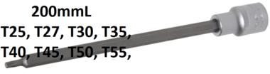 Bit-Einsatz Lange 200 mm Antrieb Innenvierkant 12,5 mm (1/2) T-Profil (fur Torx)
