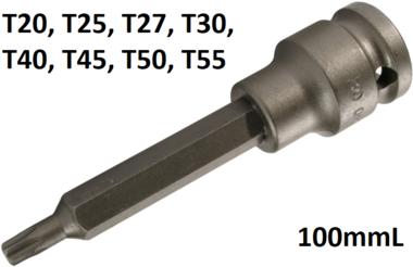 Kraft-Bit-Einsatz Lange 100mm Antrieb Innenvierkant (1/2) T-Profil (fur Torx)