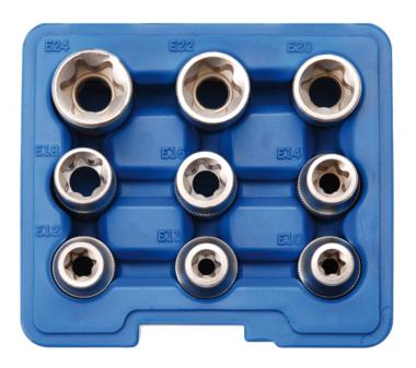 Steckschlüssel-Einsatz-Satz E-Profil Antrieb Innenvierkant (1/2) 9-tlg.