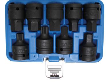 Kraft-Bit-Einsatz-Satz | Antrieb Innenvierkant 20 mm (3/4) | Innensechskant, Innenvielzahn (für XZN) | 9-tlg.
