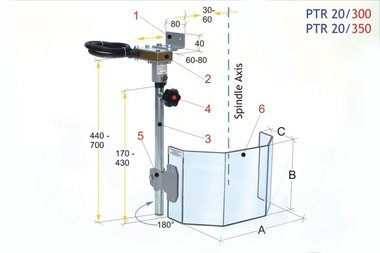 Schutzabdeckung für große Bohrer PTR 20/350 LINKS, 4,20kg