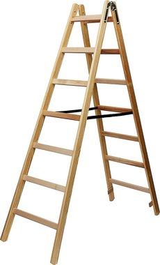Holzleiter 2x7 Sprossen Höhe der Rahmenleiter 1,84m