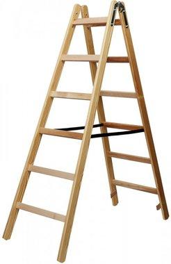 Holzleiter 2x6 Sprossen Höhe der Rahmenleiter 1,58m