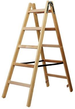 Holzleiter 2x5 Sprossen Höhe der Rahmenleiter 1,32m