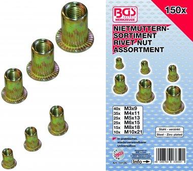 150-teilige Nietmuttern Sortiment, verzinkter Stahl