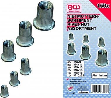 150-teilige Nietmuttern Sortiment, Aluminium