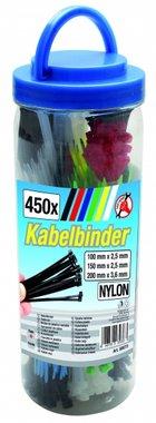 450-teiliges farbiges Kabelbinder-Sortiment
