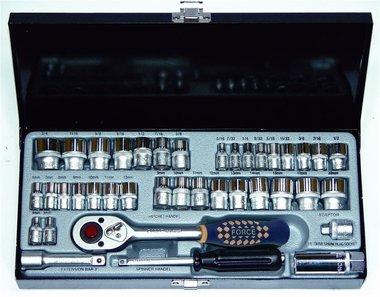 3/8 Steckschlüsselsatz 12-kant Zoll 39 tlg