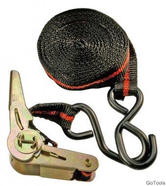 Knarren-Spannband, mit 2 schweren Haken, 5 m lang, 24 mm breit