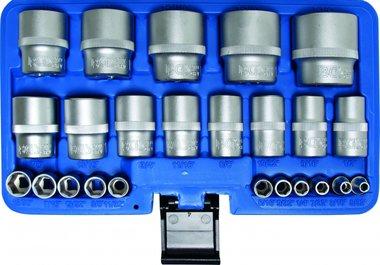 24-teiliges Steckschlüsselsatz, Zollgrößen