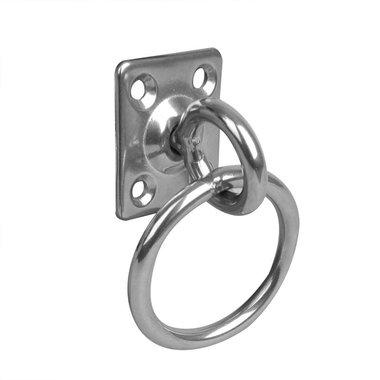 Augplatte mit Wirbel und Ring, 33x38x6mm, RVS AISI 316, 4 loch