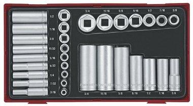Kappen-Set tc-tray 32-teilig AF 1/4+3/8 kurze Länge