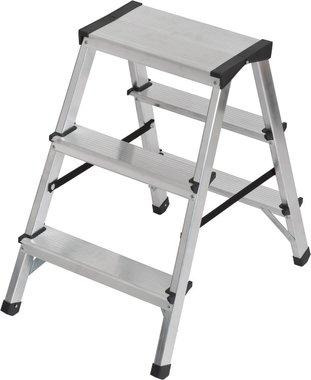 Doppelte Stufenleiter aus Aluminium 2x3 Sprossen Höhe Leiter 0,61m