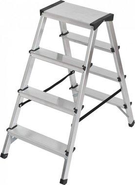 Doppelte Stufenleiter aus Aluminium 2x4 Sprossen Höhe Leiter 0,82m